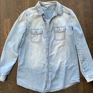 Light wash denim button down shirt